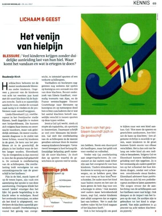 Artikel Hielpijn bij kinderen Elsevier Podotherapie Reggestreek Rijssen