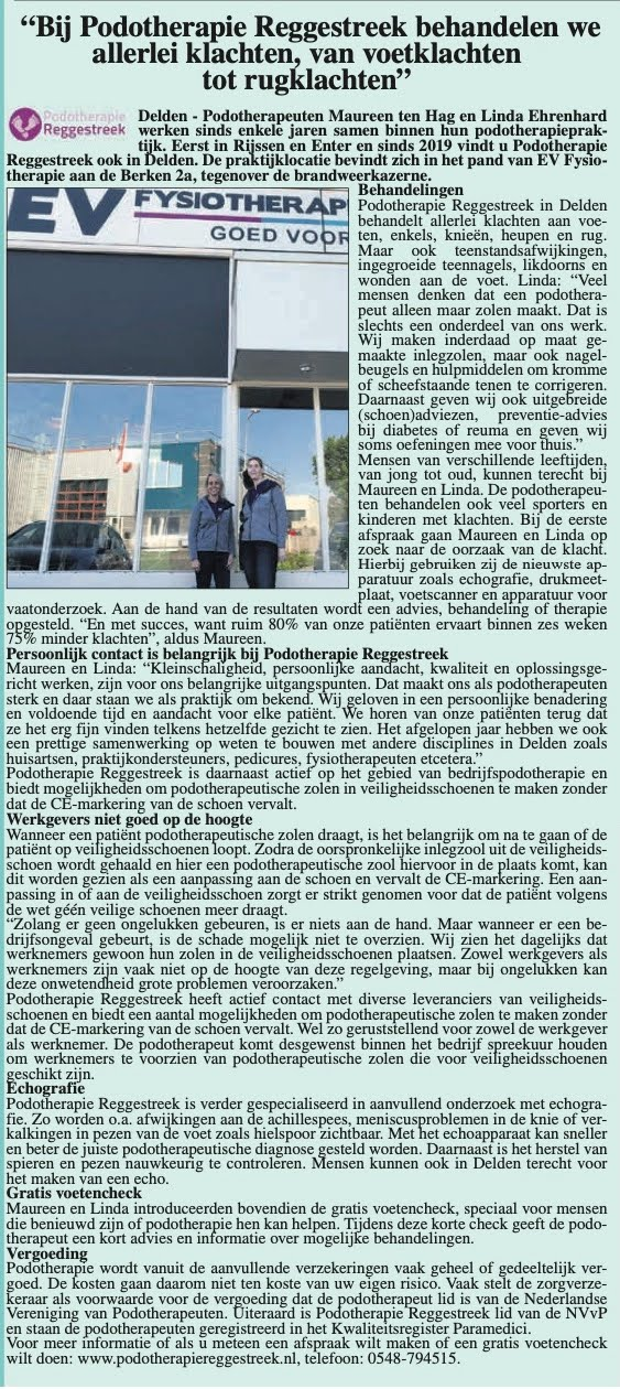 artikel-hofweekblad-februari-2020-podotherapie-reggestreek