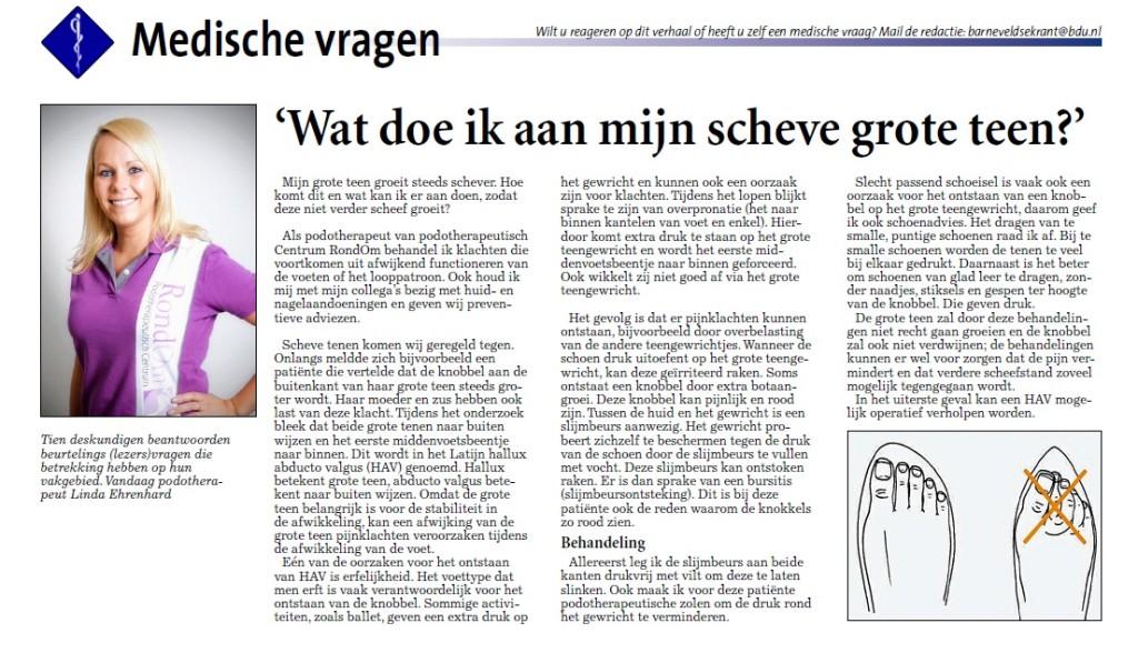 Podotherapie Reggestreek Artikel Wat doe ik aan mijn scheve grote teen Barneveldse Krant